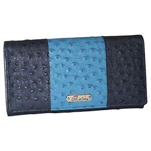 Buxton Ostrich Pop Panel Expandable Clutch womens wallet
