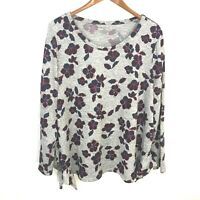 Lane Bryant Heathery Gray Purple Floral Pullover Sweater Women's Plus Size 18/20