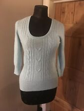 F&F 100% CASHMERE WOMENS JUMPER SWEATER TOP SMALL UK 8 BLUE