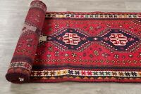 Tribal Geometric Oriental Abadeh Hand-Knotted Area Rug Wool 3x10 Red Carpet