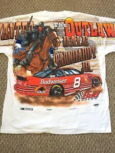 Vintage Dale Earnhardt Jr Wanted Outlaw  Young Gun Budweiser NASCAR Shirt L/XL