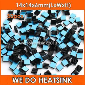 50pcs Heatsink 14*14*6mm Aluminum Heat-Sink for RAM, Chipset, PC Computer IC
