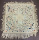 Large Antique Chinese Silk Embroidered Piano Shawl Textile with Figures Animals