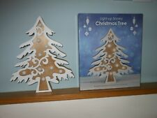 Wooden Light-Up Snowy Christmas Tree Shabby Chic Warm White Lights