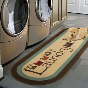Laundry Room Rug Runner Mat Farmhouse Country Oval Bath Charming Wash Room 20x59