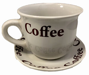 Large Coffee Cup With Saucer White Burgundy Red Letters Coffee