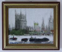 ANTHONY ROBERT KLITZ 1917-2000 Oil Painting THAMES HOUSES OF PARLIAMENT BIG BEN