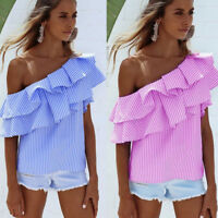 Women Loose One Shoulder Ruffle Tops Blouse Shirt Fashion Casual Striped T-shirt