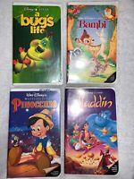 Lot of(4)Walt Disney VHS Videos: Bambi, Pinocchio, Aladdin, A Bugs Life