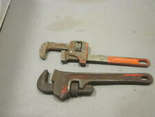 """VINTAGE SET OF 2  PIPE WRENCHES  8"""" IN GOOD WORKING ORDER ONE RIGID MADE IN USA"""