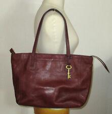 T. joli sac vintage FOSSIL en cuir bordeaux,  porté main ou épaule, TBE