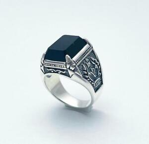 Heavy Sterling Silver Turkish Ring Black Stone Mens Ring 925 Sterling Silver