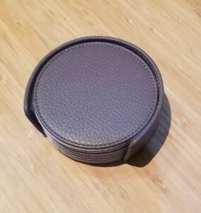 Lucrin Set Of 6 Grey Leather Coasters With Case NEW