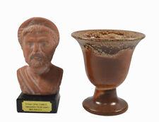 Pythagoras sculpture ceramic on marble plus Pythagoras cup of justice fair cup