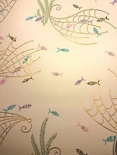 Vintage 5O's Wallpaper Design Litte Fish and Gold Nets with Ferns Fabulous