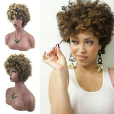 Short African American Afro Kinky Curly Fashion Brown Synthetic Women Hair Wig