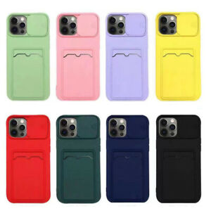 Card Slot Case Cover For iPhone 12 Pro Max 11 XR XS 7 8 Plus Slide Lens Soft TPU