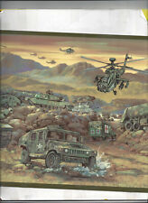 WALLPAPER BORDER MILITARY MEDICAL HELICOPTER TANK TRUCK AMBULANCE COMBAT NEW