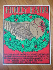 vtg Nikki Schumann HOLLY FAIR SILKSCREEN Christmas dove holiday art poster print