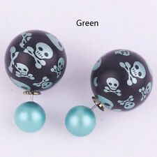 Hot 1 Pair Elegant Skull Double Side Pearl Ear Stud Ball Earrings Gift 9 Colors