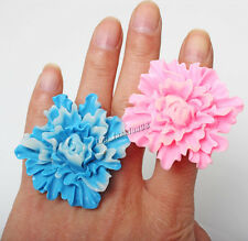Wholesale Oversize Jewelry Lots 5pcs high quality Resin Lucite Flower Rings Free