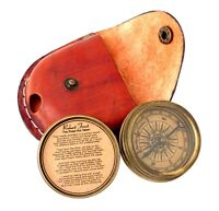 Brass Pocket Marine Compass Leather Case Collectibles Nautical Antique Brass