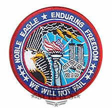 USAF Noble Eagle Enduring Freedom We Will Not Fail Military Patch Large Round