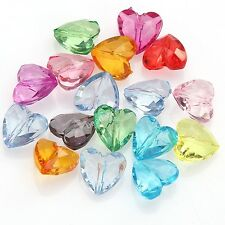 50pcs Cœur Forme Mixte couleur Perles Intercalaires Acrylique Facettes 12x8mm
