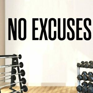 Gym Wall Sticker Decals No Excuses Vinyl Decor Motivational Quotes Workout Art