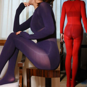 Women Sheer Open Crotch Catsuit Bodysuit Whole Body Hosiery Playsuits Sexy