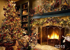 100% Polyester Photography Background Backdrop 7X5FT Studio Props XMAS Tree Fire