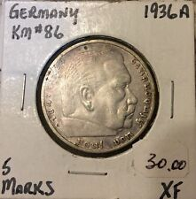 Germany 1936-A ,5 Marks Silver coin,VF-XF ,KM#86 !!