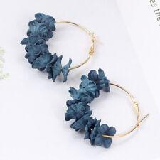 Fabric Flower Drop Earrings Bijoux Sweety Petal Alloy Ear Circle Earrings