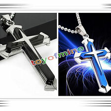 New Gift Men Black Silver Stainless Steel Cross Pendant Necklace Chain