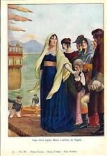 Stampa antica MARIA CAROLINA d' Asburgo fugge da Napoli 1932 Old antique print