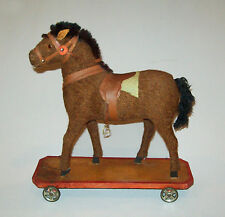 Antique Vtg Ca 1900's Large Horse on Wheeled Platform Pull Toy Outstanding Cond
