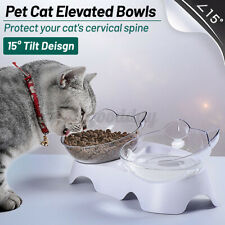 Pet Food Double Bowls Stand Cat Dog Drink Water Feeder Feeding Bowl 15° Slant ☆