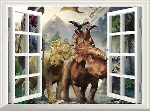 Dinosaurs Wall Decal 3D Window Sticker Poster Vinyl Mural Art Dino Wallpaper