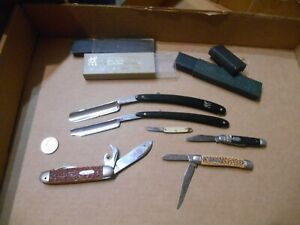 VINTAGE JUNK DRAWER LOT OF 6 POCKET KNIVES & STRAIGHT RAZORS
