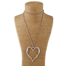 Large abstract metal heart pendant and long curb chain necklace silver lagenlook