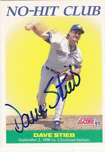 DAVE STIEB TORONTO BLUE JAYS SIGNED 1991 SCORE NO-HIT CARD CHICAGO WHITE SOX