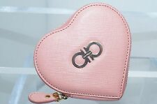 New Salvatore Ferragamo Heart Pink Wallet Coin Purse Women's Pouch Leather