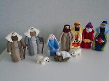 hand knitted Christmas Xmas nativity set