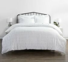 NEW Linens And Hutch Duvet Cover Set Rugged Stripes White Gray Bed Microfiber