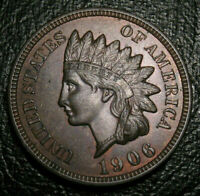 OLD US COINS 1906 INDIAN HEAD CENT PENNY FULL LIBERTY HIGHGRADE BEAUTY