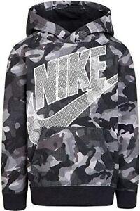 Nike Boys Fleece Camo Pullover Hoodie Sz 6 (5-6 yrs) Md Black Grey 86F670-023