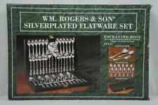 WM. ROGERS & SON SILVERPLATED FLATWARE SET ENCHANTED ROSE 63 PIECES IN CASE NEW