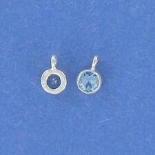 Sterling Silver FACETED  5mm BLUE TOPAZ, ROUND SHAPE  CHARM, BEAUTIFUL