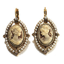 Vintage Cameo Imitation Pearl Drop Earrings (Burn Gold)