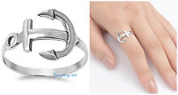 Sterling Silver 925 PRETTY NAUTICAL ANCHOR DESIGN SILVER RING SIZES 5-10